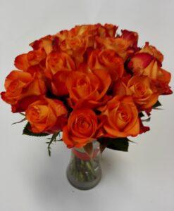 Nádherná kytice 18 ks velkých oranžových růží