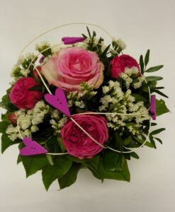 Růže - růžovobílá s minirůžemi