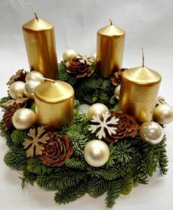 Adventní věnec se zlatými svíčkami II.