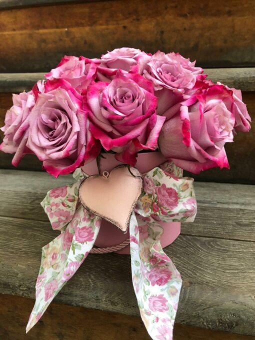 Něžné růžovofialové růže - 16 ks - v dárkové krabičce